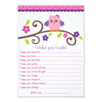 Owl Blossom Girl Owl Wishes for Baby Cards