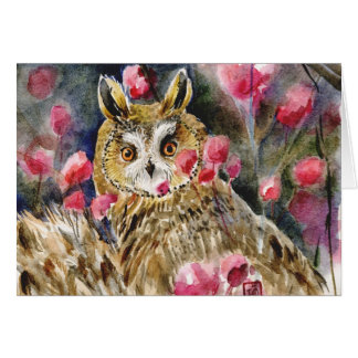 Owl blossom watercolor painting card