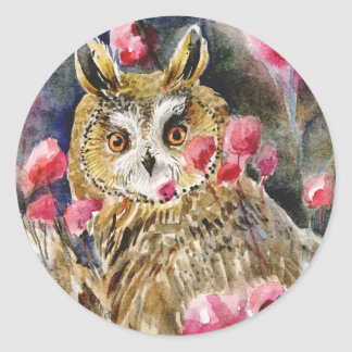 Owl blossom watercolor painting classic round sticker