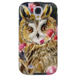 Owl blossom watercolor painting galaxy s4 case