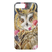 Owl blossom watercolor painting iPhone 8/7 case
