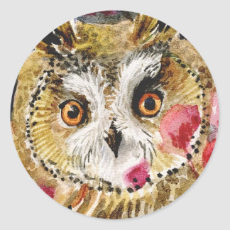 Owl blossom watercolor painting  large head round sticker