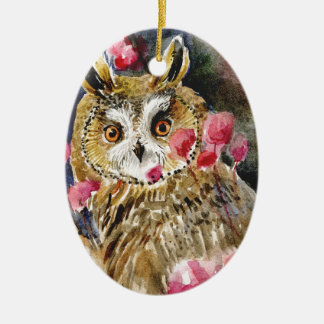 Owl blossom watercolor painting ornaments