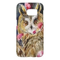 Owl blossom watercolor painting samsung galaxy s7 case