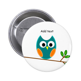 Owl: Blue and Gold Owl Template Button