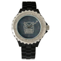 Owl Blue Grunge Fancy Wristwatch