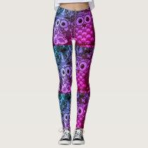 Owl Blue & Purple Design Print Leggings