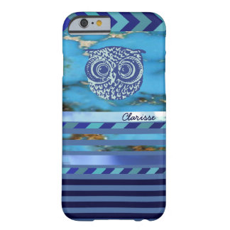 owl, blue stripes and name new barely there iPhone 6 case