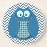 Owl - Blue with Polka Dots Beverage Coasters