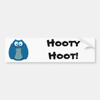Owl - Blue with Polka Dots Bumper Sticker