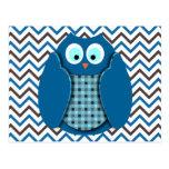 Owl - Blue with Polka Dots Postcard