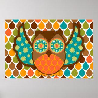 Owl Boheme Brown & Teal Art Poster