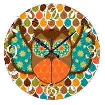 Owl Boheme Brown & Teal Clock