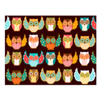 Owl Boheme Pattern on Brown - Custom Postcard