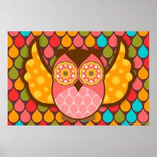 Owl Boheme Pink & Brown Art Poster