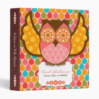 Owl Boheme Pink & Brown Binder