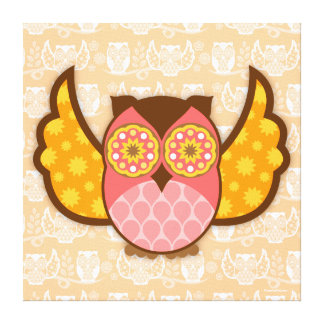 Owl Boheme Pink & Brown Stretched Canvas Wall Art