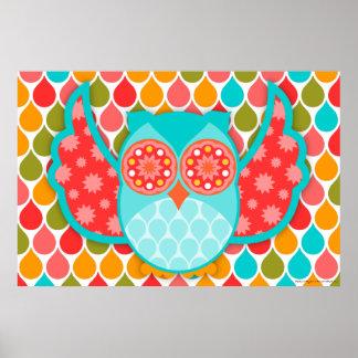 Owl Boheme Red & Teal Art Poster
