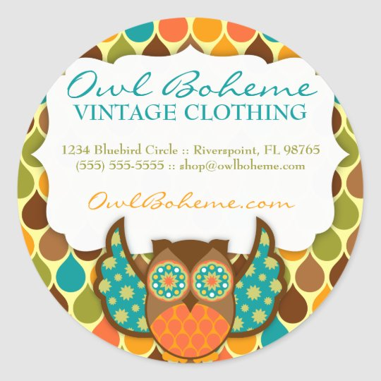 Owl Boheme Teal & Brown Classic Round Sticker