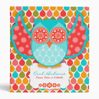 Owl Boheme Teal & Red Binder