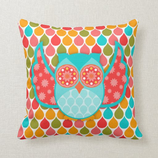 Owl Boheme Teal & Red Pillow Throw Pillows Zazzle