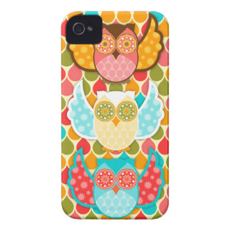 Owl Boheme Three Colorful Owls iPhone 4 Cases