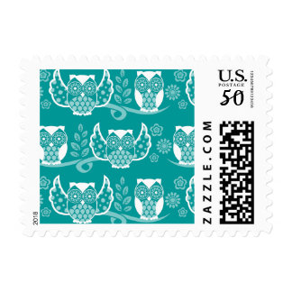 Owl Boheme White - Custom Postage Stamps