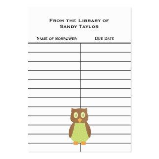 Owl Book Insert Card. Business Cards