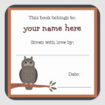 Owl book plate - Forest Animals library bookplate Square Sticker