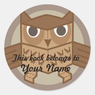 OWL bookplate Classic Round Sticker