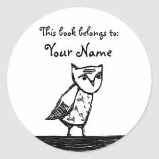 Owl Bookplate Labels Classic Round Sticker