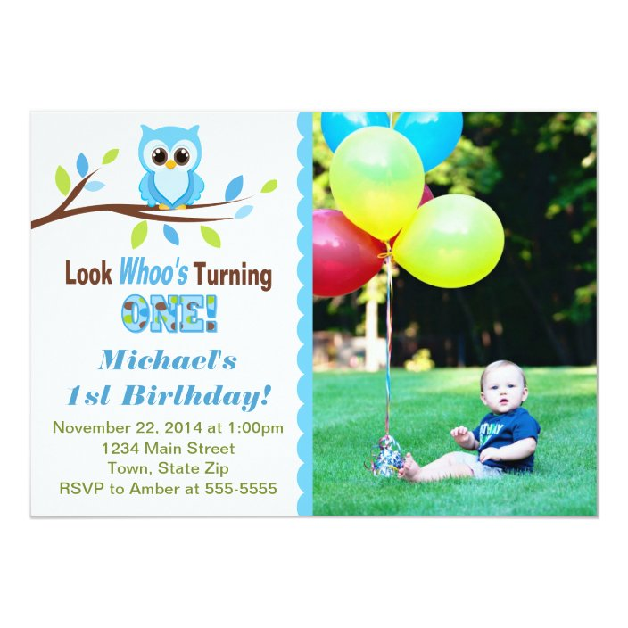 Astonishing Owl Boy 1St Birthday Invitation 5X7 Photo Card Zazzle Com Funny Birthday Cards Online Alyptdamsfinfo
