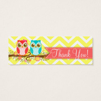 """Owl Boy and Girl Twins Baby Shower """"Thank You"""" Tag"""