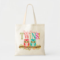 Owl Boy and Girl Twins - Proud Mommy Custom Tote