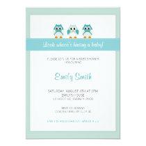 Owl Boy Baby Shower Invitation