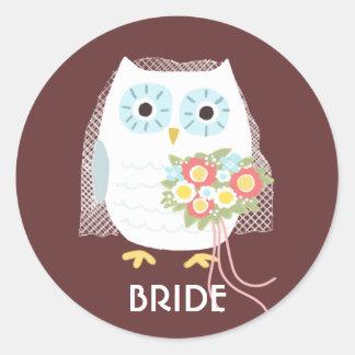 Owl Bride - Fun Illustration with Custom Text Classic Round Sticker