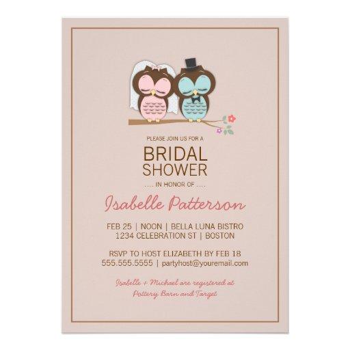 Owl Bride & Groom Sweet Bridal Shower Invitation