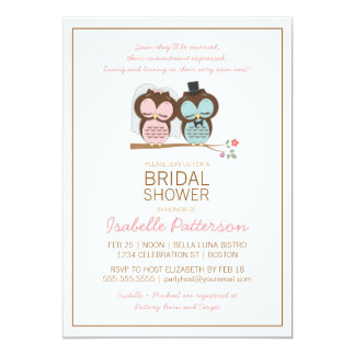Owl Bride & Groom Sweet Bridal Shower Invitation