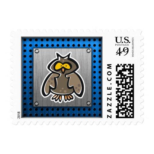 Owl; Brushed metal-look Postage Stamps