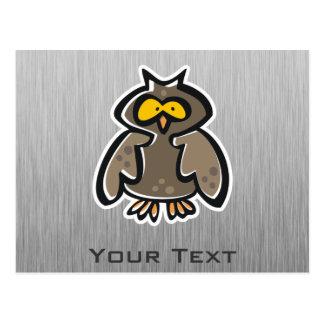 Owl; Brushed metal-look Postcard