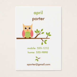 Owl Business Card / Calling / Mommy Card (#BUS001)
