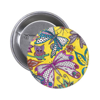 Owl, butterfly and floral on yellow background 2 inch round button