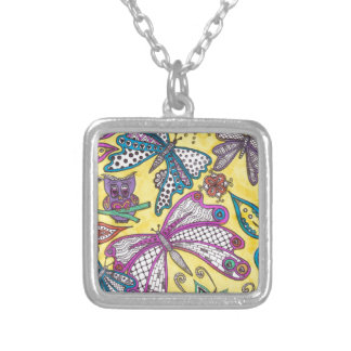 Owl, butterfly and floral on yellow background square pendant necklace