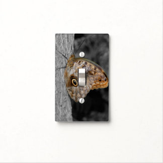 Owl Butterfly In Black And White Light Switch Cover