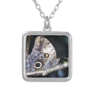 Owl Butterfly Square Pendant Necklace