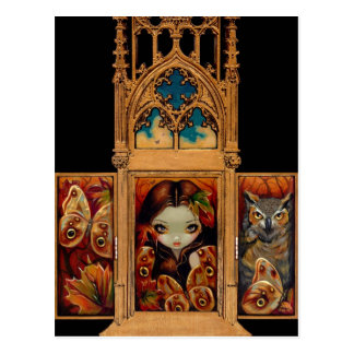 """Owl Butterfly Triptych"" Postcard"