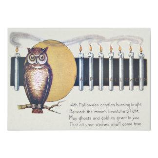 Owl Candles Full Moon Vintage Halloween Card