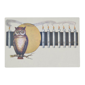 Owl Candles Full Moon Vintage Halloween Placemat