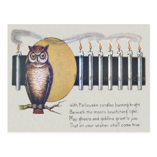 Owl Candles Full Moon Vintage Halloween Postcard