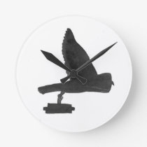 Owl Carrying Books Round Clock